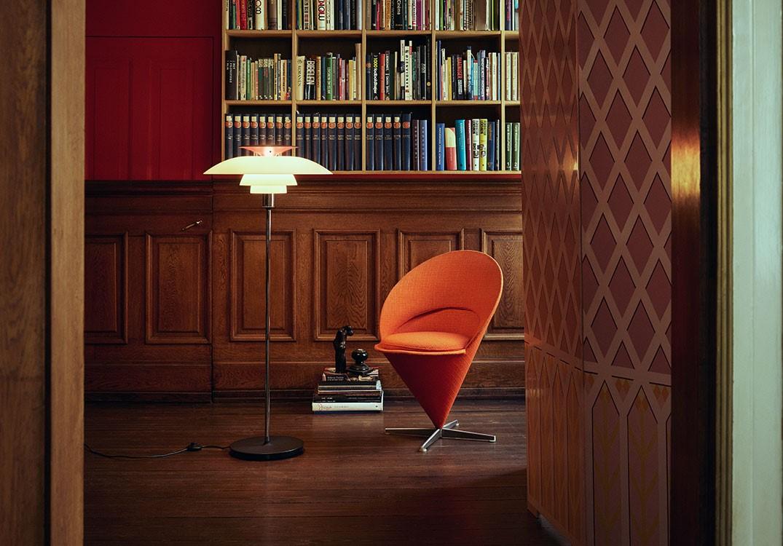 PH 80 floor lamp next to orange chair