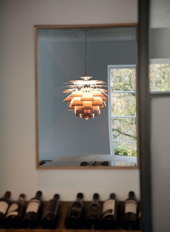 PH Artichoke pendant in mirror reflection