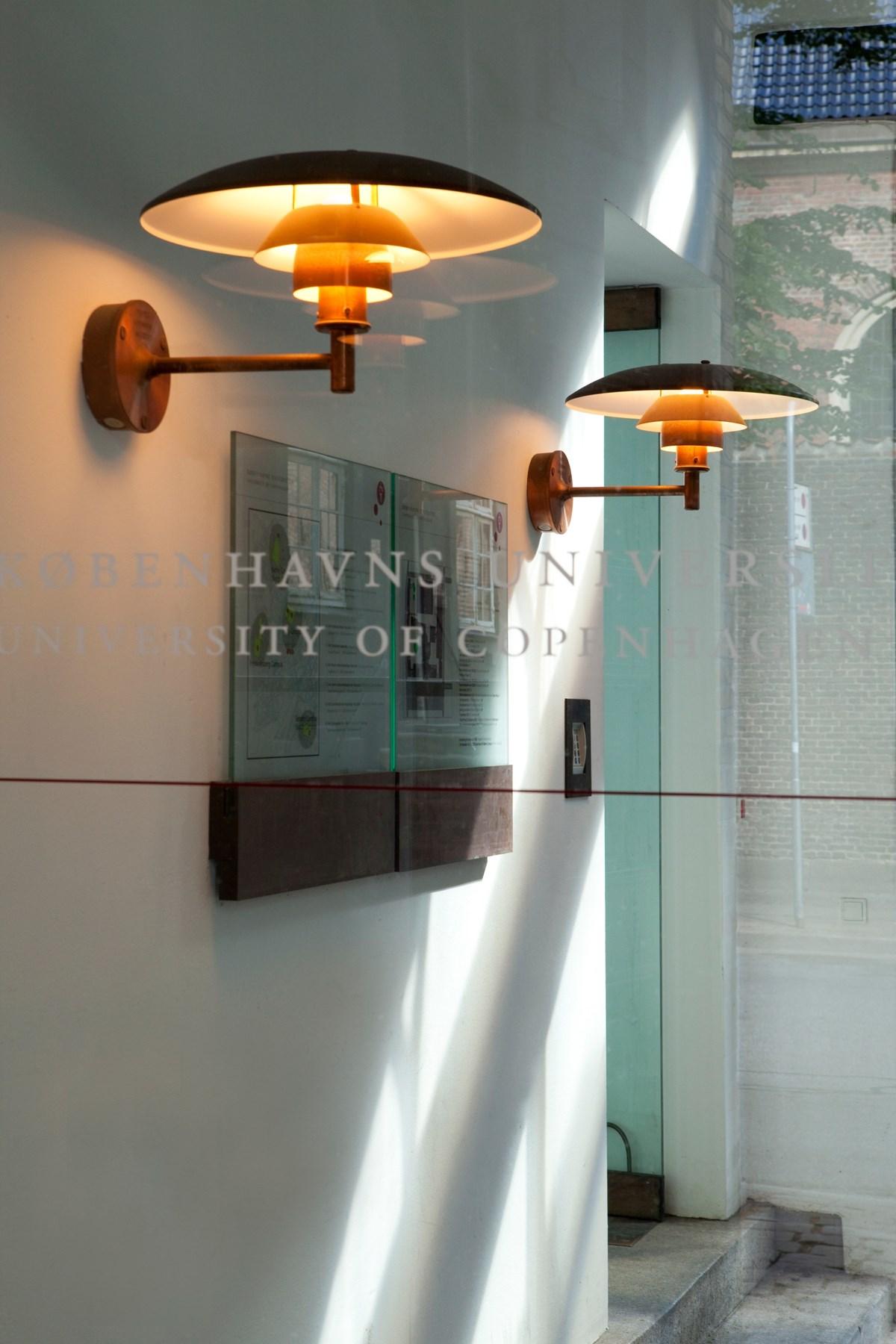 Two PH Wall fixtures in entryway of Copenhagen University